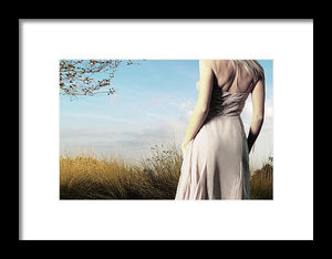 Cropped Woman from the Back in a Field of Pastel- Framed Fine Art Print