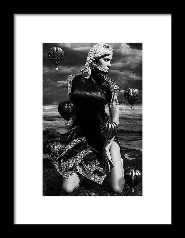 Black & White Portrait on a woman on her knees at the beach with a Neck Corset and small Black Hot Air Balloons-Metal Print-Framed Fine Art Print