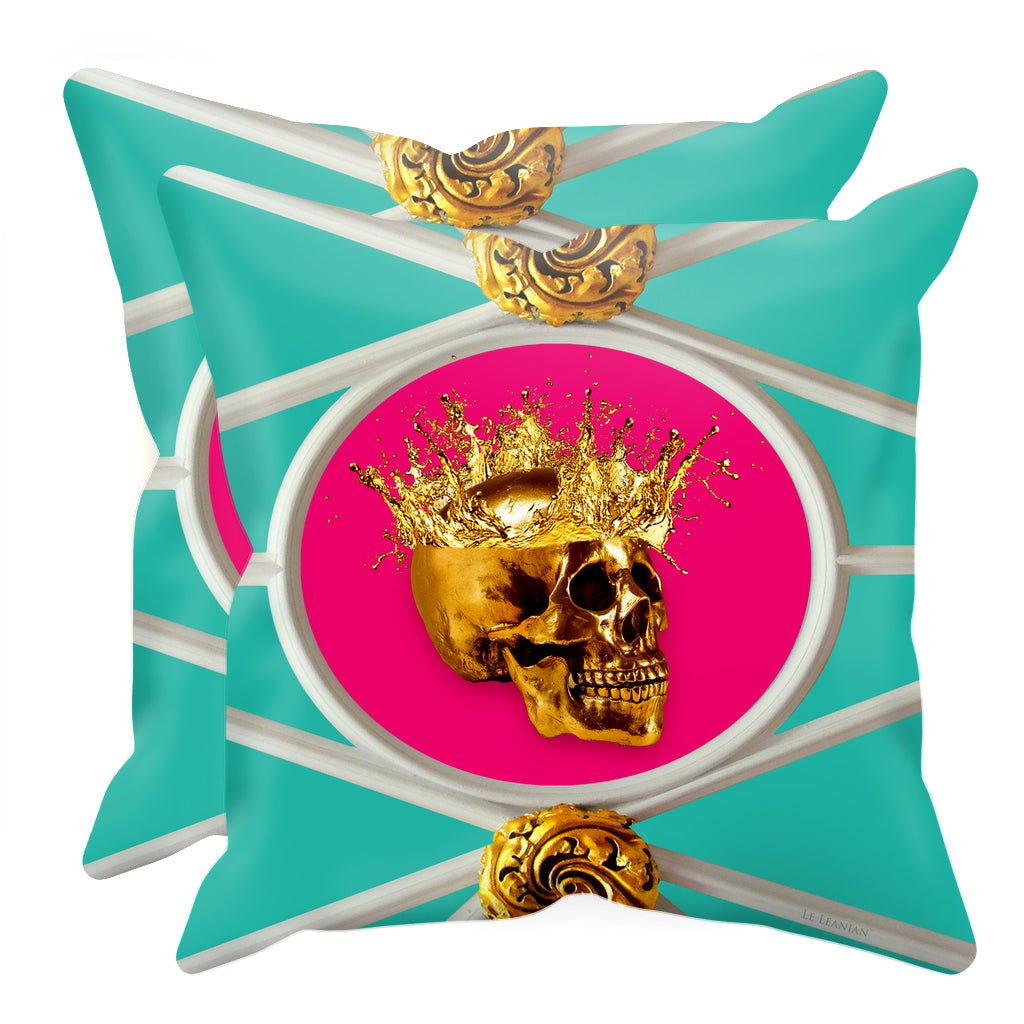 Gold Skull French Goth Chic- Pillow Case Set- Interior Design Singles- in Color-TEAL BLUE & PINK