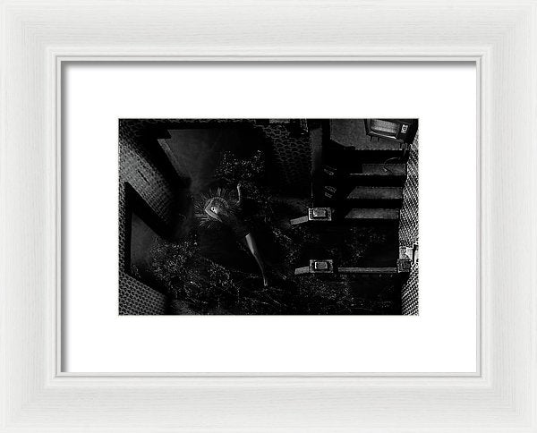 Horizontal Black & White Portrait of a Woman Being Baptized in the Whole First Floor of a House- Framed Fine Art Print