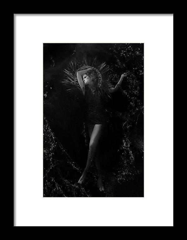 Baptizing Madonna-Mother Mary-Black & White-Vertical- Framed Fine Art Print