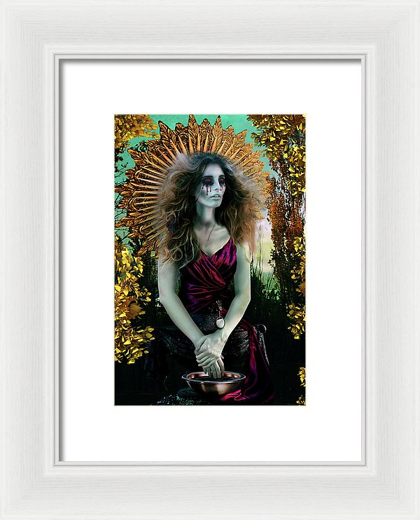 Madonna-Mother Mary in Exile Washing Six Fingered Hands-Framed Fine Art Print