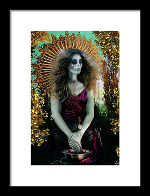 Madonna-Surreal Mother Mary in Exile Washing Six Fingered Hands-Framed Fine Art Print