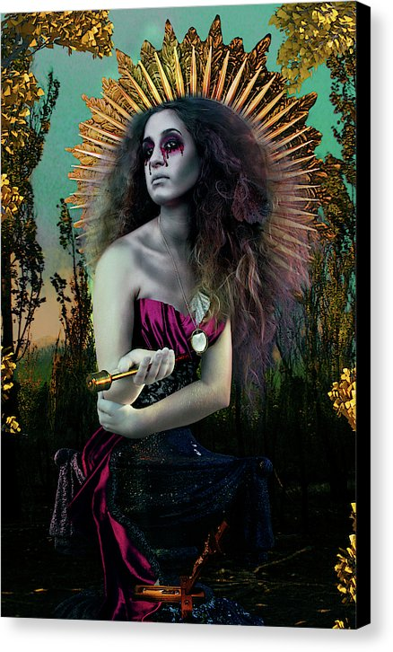 Surreal Mother Mary in Bold Colors Holding Holy Water- Fine Art Canvas Print