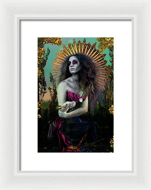 Surreal Mother Mary in Bold Colors Holding Holy Water- Framed Fine Art Print