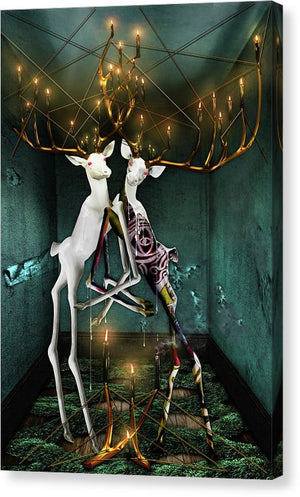 Jewish Folklore-The Guff & The Hall of Souls-Surreal Bucks with Golden Entanglements-Fine Art Canvas Print