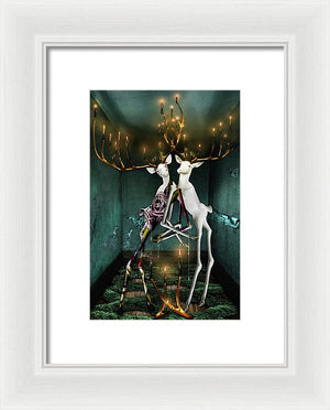 Jewish Folklore-The Guff & The Hall of Souls-Surreal Bucks with Golden Entanglements-Framed Fine Art Print