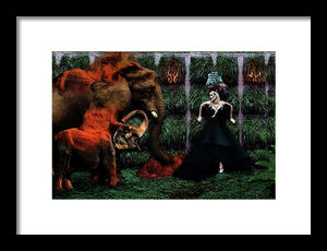 Asian Elephants & Baby Elephant Throwing Red Dirt with Their Loving Angel- Framed Fine Art Print