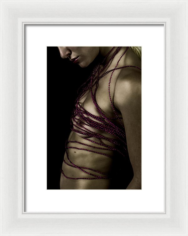 Woman with Crimson Beads Wrapped Around Her Nude Torso-Framed Fine Art Print