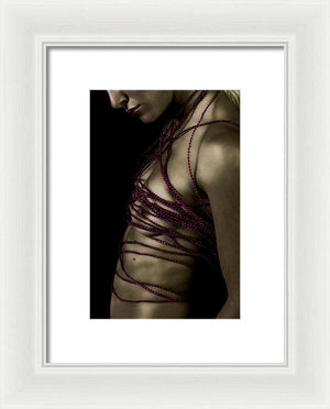 Woman with Crimson Beads Wrapped Around Her Naked Torso-Framed Fine Art Print
