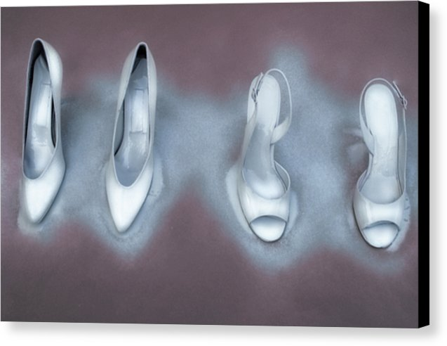 Winter White Painted Fine Art Stilettos- Surreal Fashion- Fine Art Canvas Print