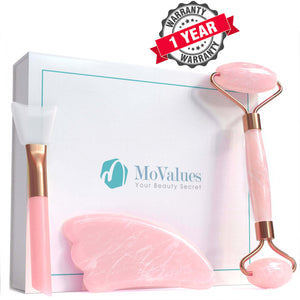 3-In-1 Rose Quartz Roller and Gua Sha Set