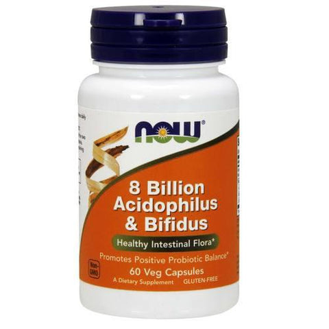 Now Foods, 8 billones de Acidophilus y Bifidus Probiotic - 60 cápsulas