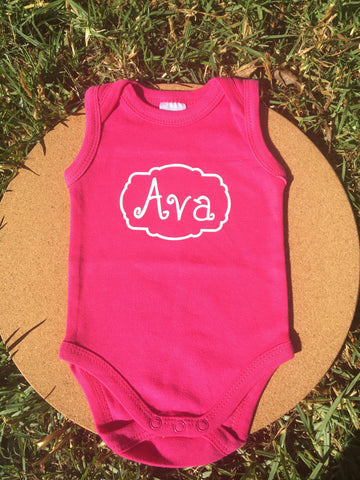 Personalised baby onesie (sleeveless)