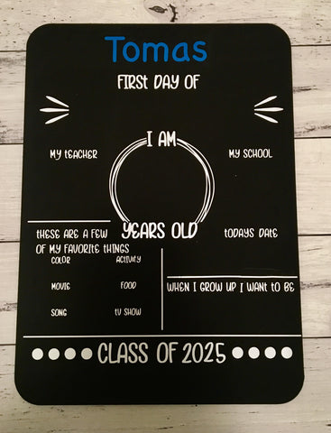 First year of school chalkboards