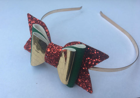 Christmas bow on metal headband