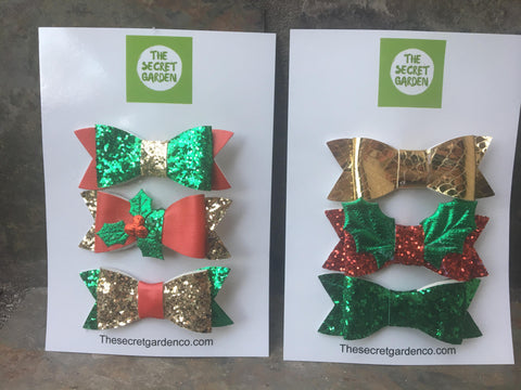 Christmas bow trio