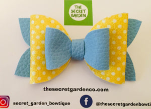 Blue and Yellow Polka Dot Bow