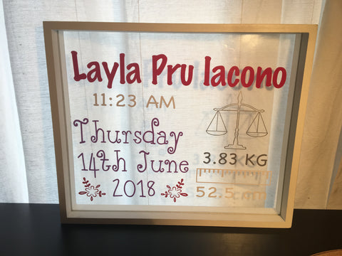 Personalised birth frame keepsake