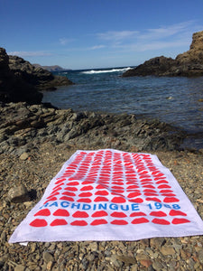 "Beach Towel Lip ""Rachdingue 1968"" Free Shipping !"