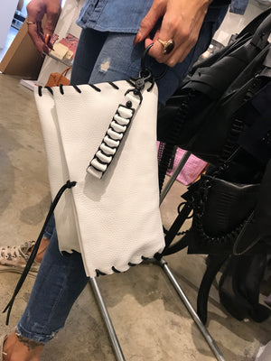 Large White Woven Clutch