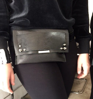 David Galan Black Leather Change Bag
