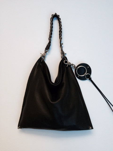 David Galan Black Leather Hobo Bag