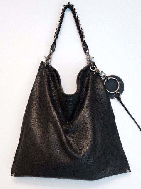 David Galan Black Leather Hobo Bag Large