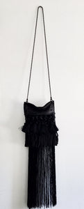 David Galan Black Fringe Crossbody