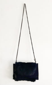 David Galan Navy Blue Fur Shoulder Bag