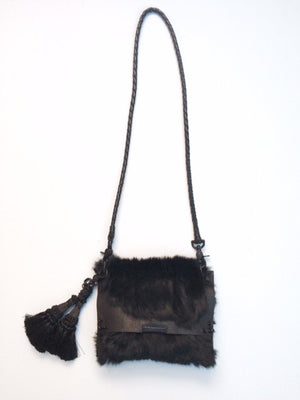 David Galan Tassled Fur Crossbody