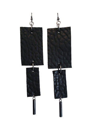 Leather Rectangle Cylinder Drop Earrings
