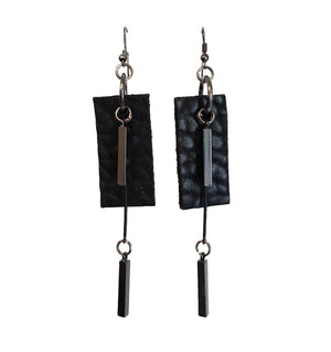 Leather Squared Drop Earrings
