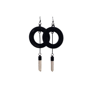 Black Screen Crystal Drop Earrings