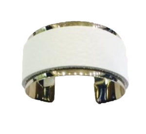 White Leather Chrome Cuff Bracelet