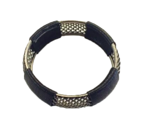 Black Leather Wrapped Screen Bracelet