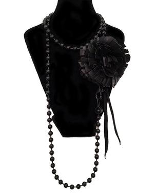 David Galan Black Flower Necklace