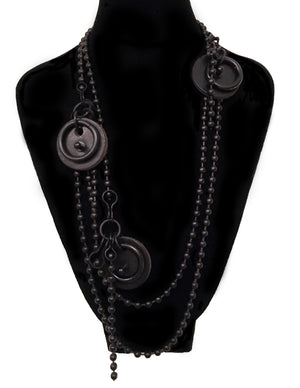 Long Black Leather Medallion Necklace