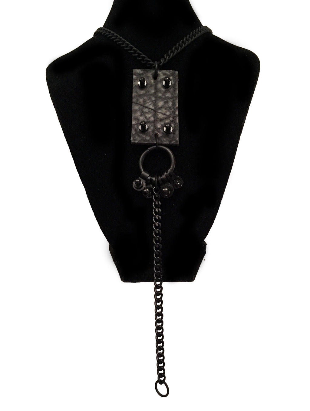 Black Leather Warrior Long Drop Necklace