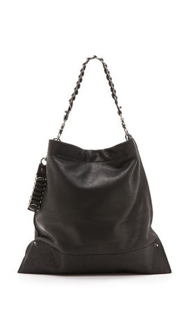 David Galan Black Courier Hobo Bag Large