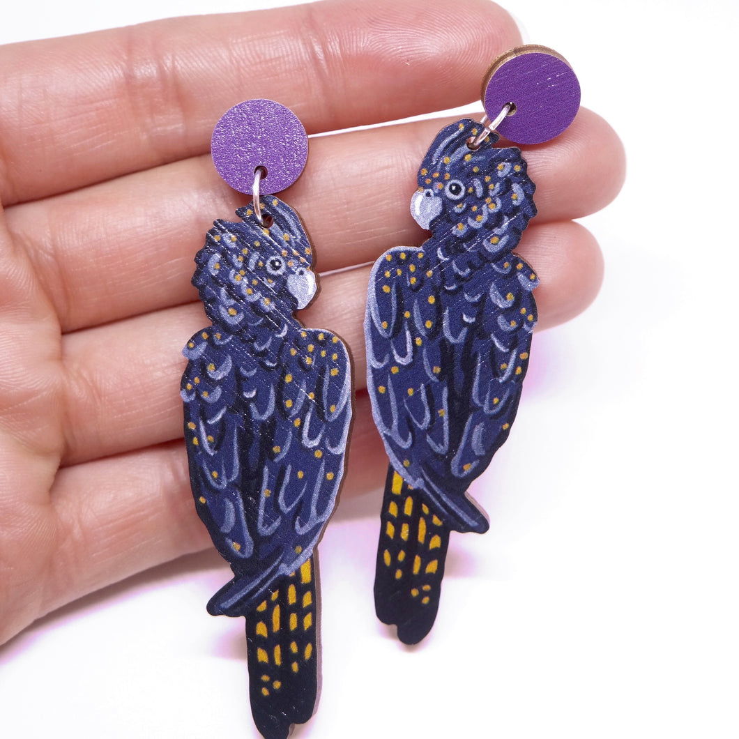BLACK COCKATOO EARRINGS