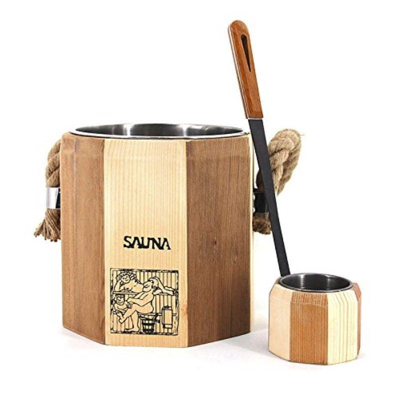 Handcrafted Wooden Sauna Accessory Bucket and Poplar Water Scoop, Stainless Steel Liner, 1.8 Gallons