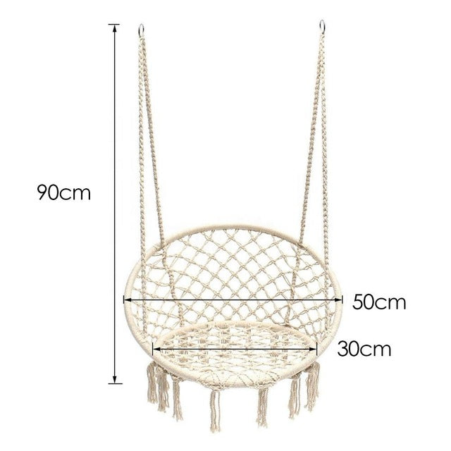 Nordic Style Round Hammock Safety Hanging Hammock Chair Swing Rope Outdoor Indoor Hanging Chair Garden Seat For Child Adult