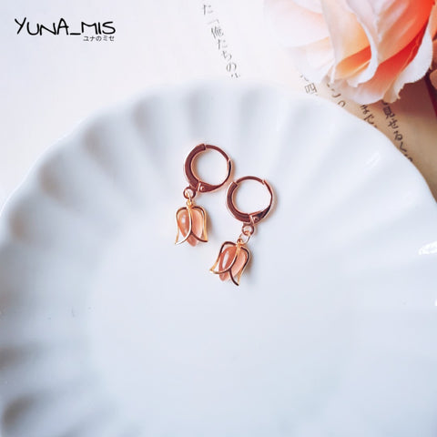《簡》Pink tulip rose gold hoop