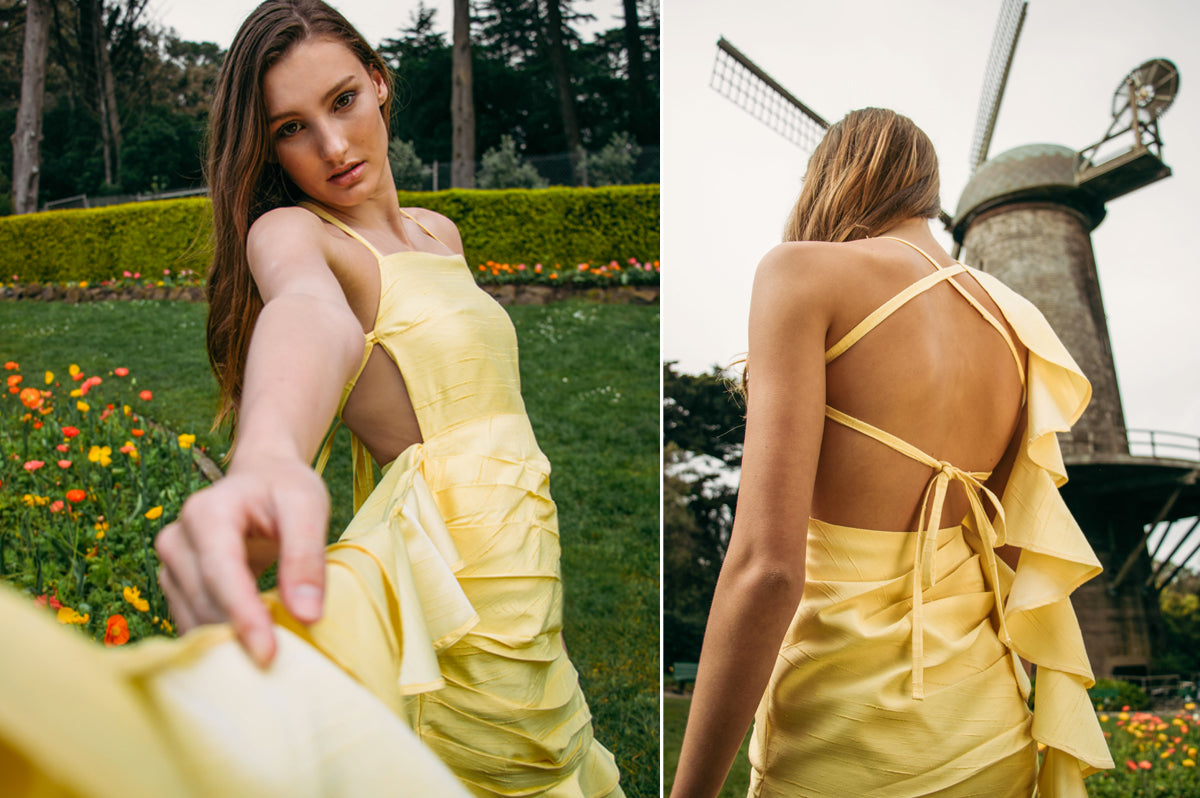 Alyssa Nicole Spring 2019 Collection. Simple luxury silk dress. Sustainable Luxury Dresses designed by Alyssa Nicole. Feminine, Ethereal, & Chic. Handcrafted in California· Made to Measure Apparel · Sustainably Sourced · Free Shipping