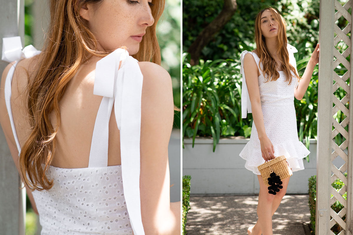 Alyssa Nicole Summer 2020 Collection. Simple luxury cotton dress. Sustainable Luxury Dresses designed by Alyssa Nicole. Feminine, Ethereal, & Chic. Handcrafted in California· Made to Measure Apparel · Sustainably Sourced · Free Shipping