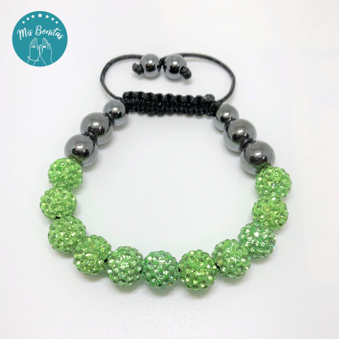Green Czech Rhinestones Crystals Disco Paved Bead Bracelet