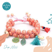 Load image into Gallery viewer, Handmade Woven Natural Turquoise Stone Bracelet (Light Pink)