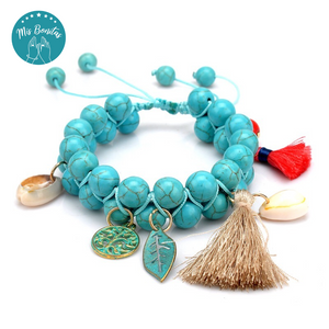 Handmade Woven Natural Turquoise Stone Bracelet (Turquoise)