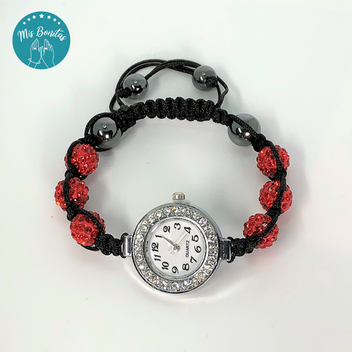 Red Czech Rhinestones Crystals Disco Paved Bead Watch